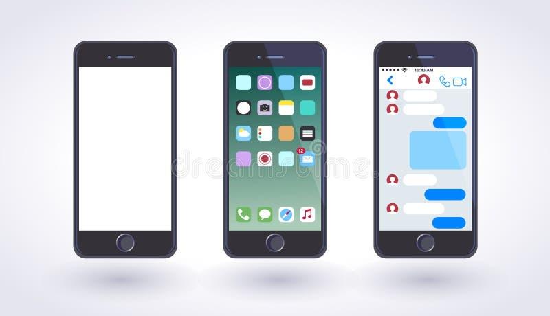 Smartphone dans la couleur noire de style avec l'écran tactile vide illustration libre de droits