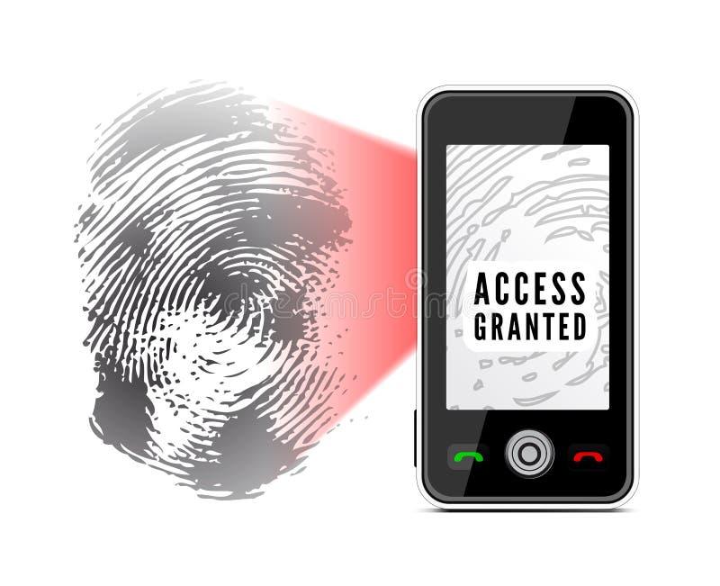 Smartphone, das einen Fingerabdruck scannt lizenzfreie abbildung