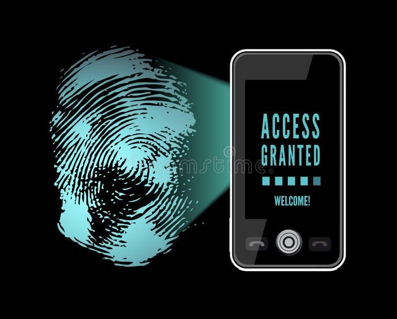 Smartphone, das einen Fingerabdruck scannt vektor abbildung