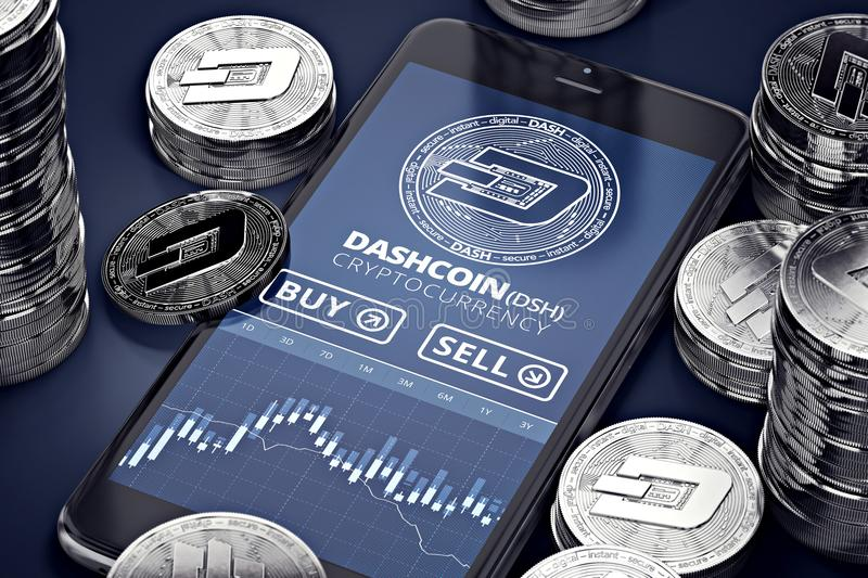 Smartphone with Dashcoin trading chart on-screen among piles of silver Dashcoins. Dashcoin trading concept. 3D rendering stock illustration