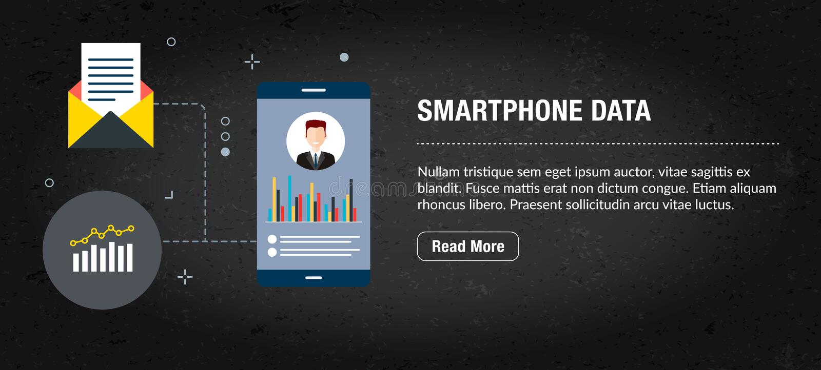 Smartphone data, banerinternet med symboler i vektor stock illustrationer