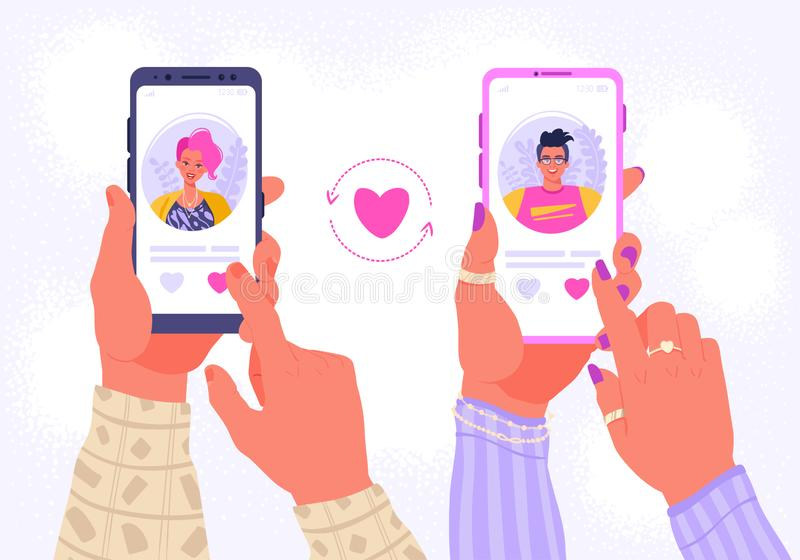 Smartphone with dating application that help people find love. royalty free illustration