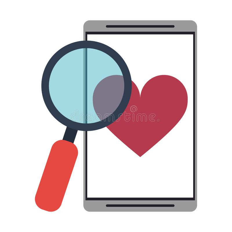 Smartphone with dating application. Vector illustration graphic design royalty free illustration