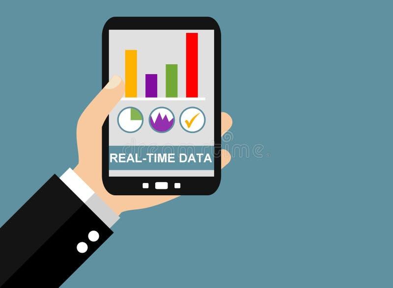 Smartphone: Datos en tiempo real - diseño plano stock de ilustración