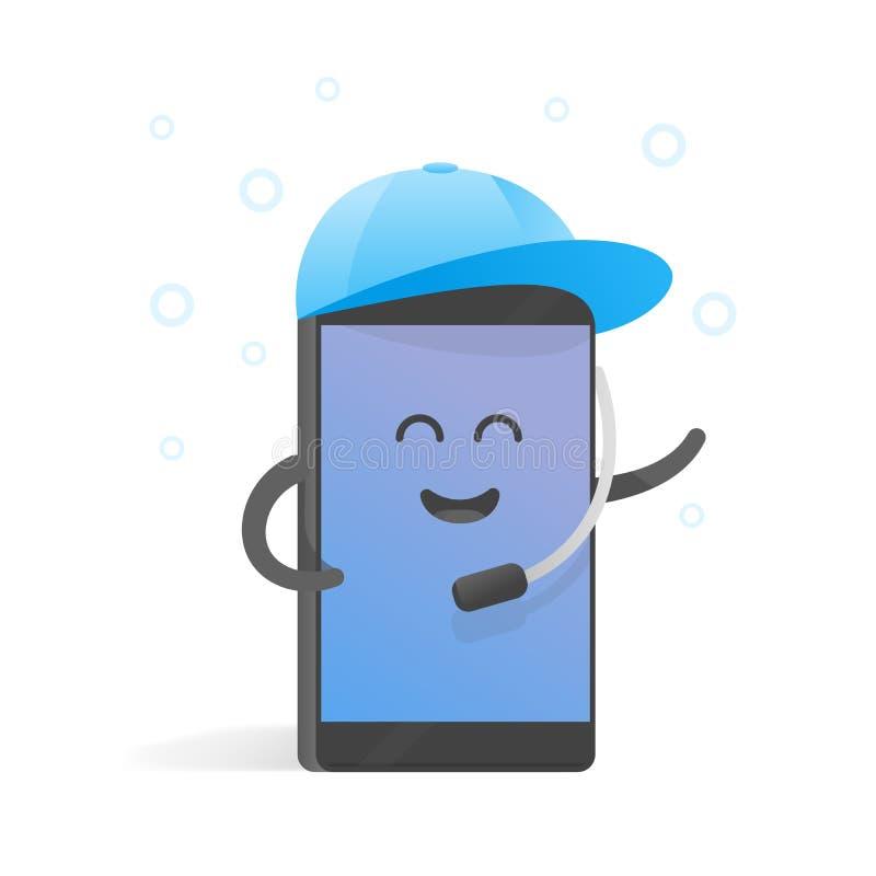 Smartphone-de conceptenmanager keurt vraag in GLB met microfoon goed De leuke telefoon van het Beeldverhaalkarakter met handen, o vector illustratie