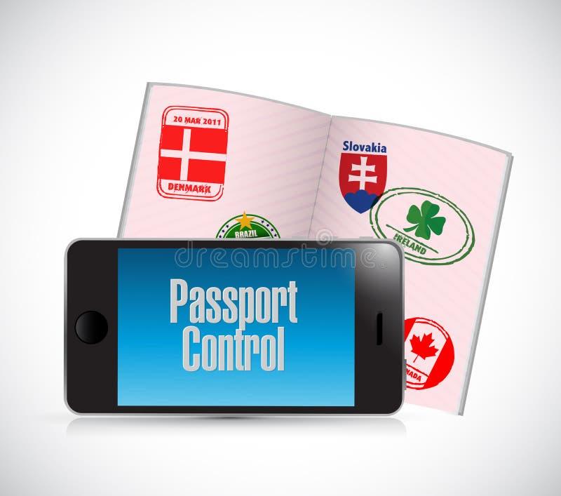 Smartphone de contrôle de passeport illustration de vecteur