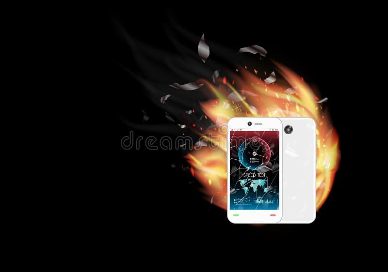 Smartphone de cristal quebrado de la pantalla con el interfaz de la prueba de velocidad y el fuego ardiente ilustración del vector