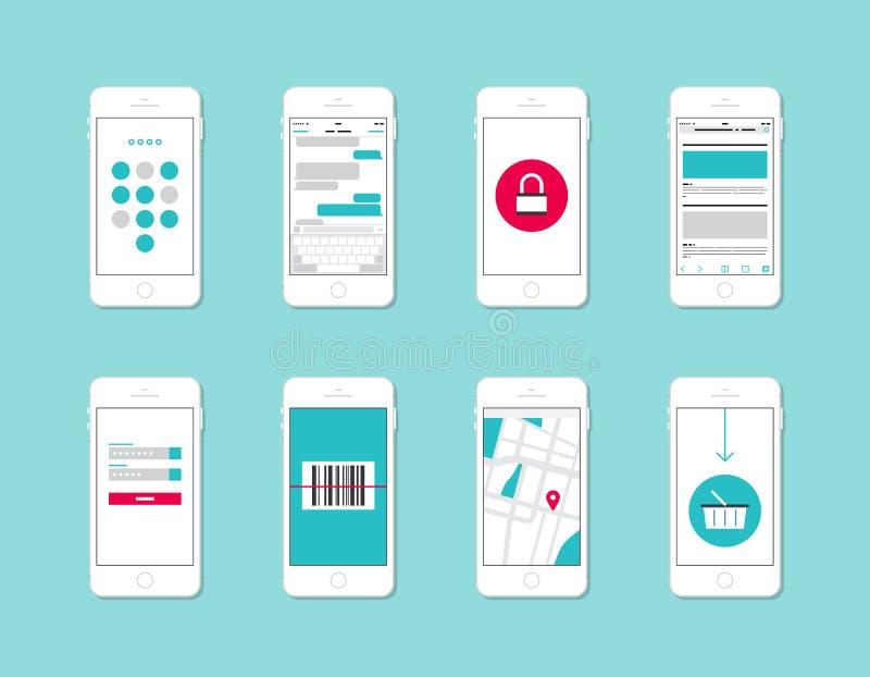 Smartphone-de elementen van de toepassingsinterface royalty-vrije illustratie