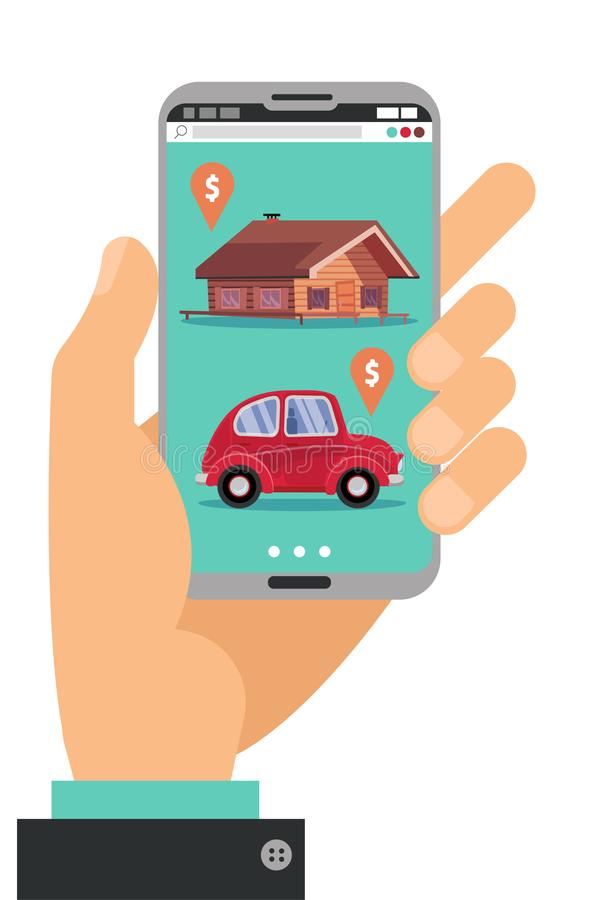 Smartphone de fixation de main Concept de main avec le téléphone portable avec l'objet immobilier, application de marché de vente illustration libre de droits