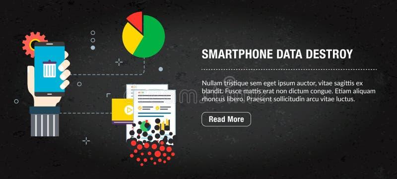 Smartphone-de gegevens vernietigen, banner Internet met pictogrammen in vector vector illustratie
