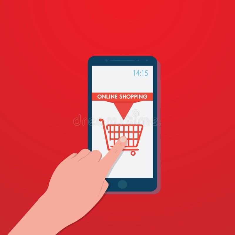 Smartphone de glissière de main avec l'icône de caddie sur l'écran rouge, billet de voyage d'achat, vecteur illustration stock