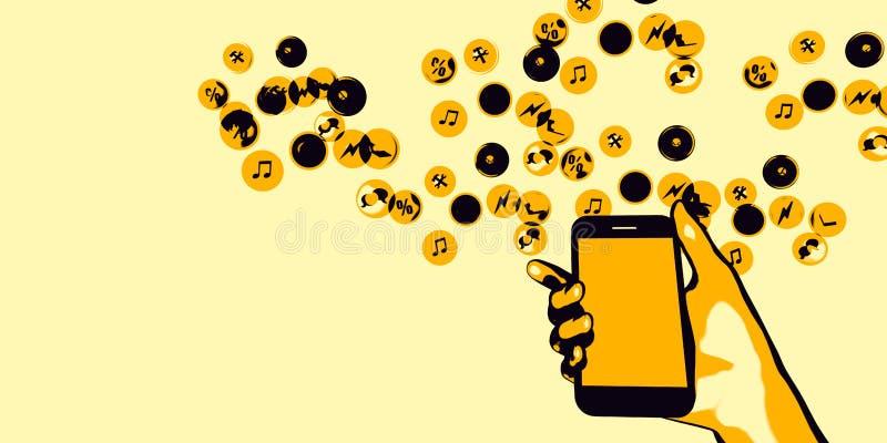 Smartphone de la explotación agrícola de la mano stock de ilustración