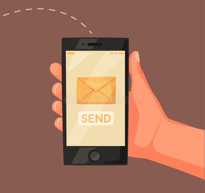 Smartphone de la explotación agrícola de la mano Pantalla con el mensaje Ilustración de la historieta del vector Nuevo teléfono m stock de ilustración