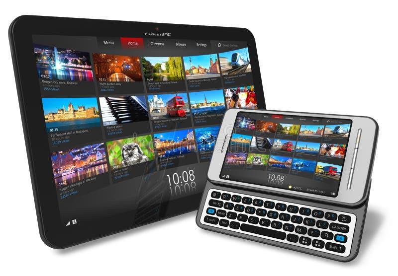 Smartphone de la pantalla táctil de la PC de la tablilla y del resbalador de la cara stock de ilustración