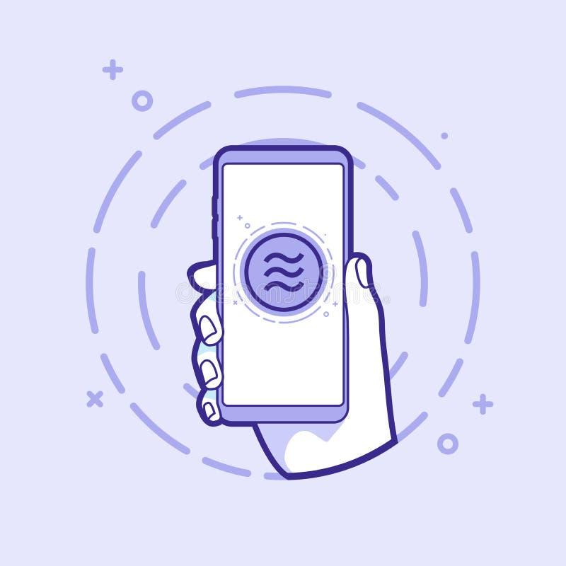 Smartphone de la tenencia de la mano con la moneda del libra uso en proyecto Web y usos Objeto del esquema libre illustration
