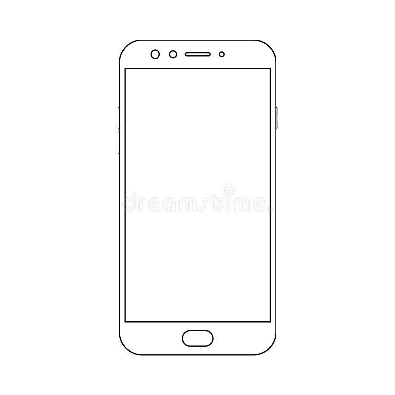Smartphone de la vista delantera del esquema con los botones del poder y del menú, cámara y pantalla vacía en el fondo blanco  stock de ilustración