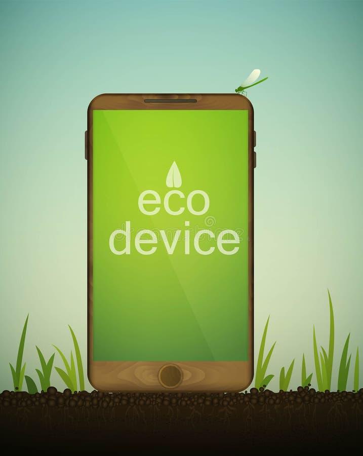 Smartphone de madeira no solo entre a grama, móvel o dos materiais reciclados, conceito material do eco, eco devive ilustração do vetor