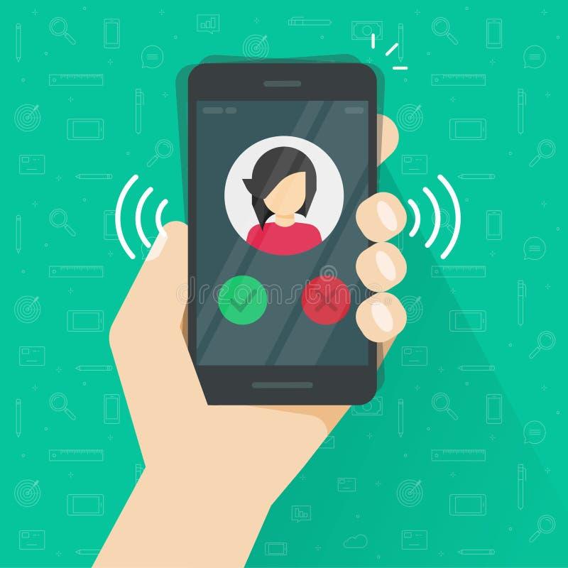 Smartphone of de mobiele telefoon die of vectorillustratie, de vlakke vraag van beeldverhaal zwarte cellphone bellen roepen of tr stock illustratie