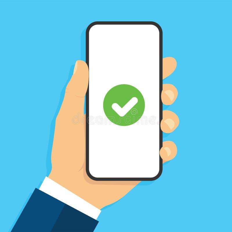 Smartphone de participation de main avec la marque de ?heck Bille 3d diff?rente Style plat - vecteur courant illustration libre de droits