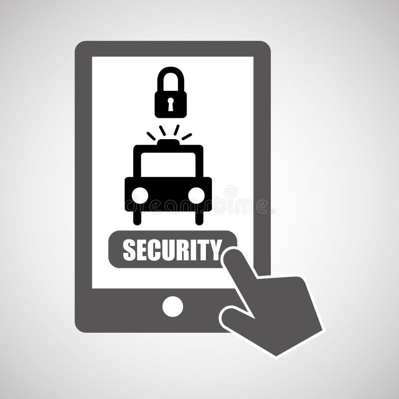 Smartphone de protection des données avertissant l'icône vigilante illustration stock