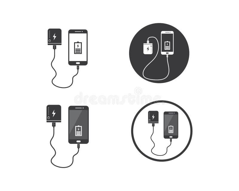 smartphone de remplissage avec le vecto de banque de puissance illustration libre de droits