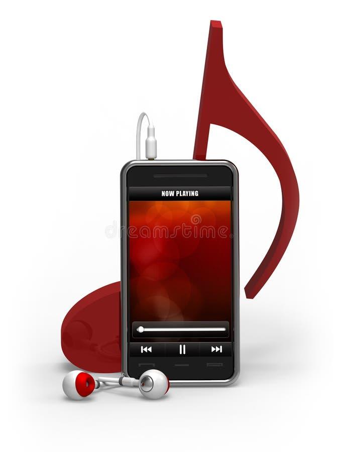 Smartphone, de speler van de Muziek, Oortelefoons, de nota van de Muziek royalty-vrije illustratie