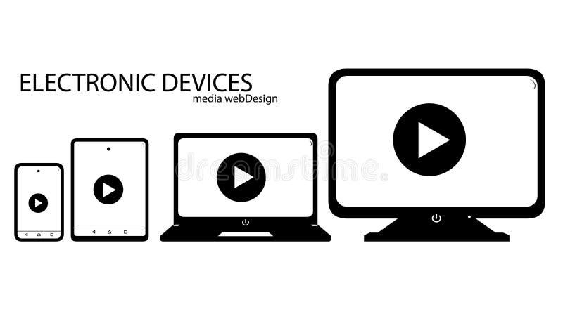Smartphone, de tablet, laptop en het van apparatenpictogrammen bureaucomputer - E royalty-vrije illustratie