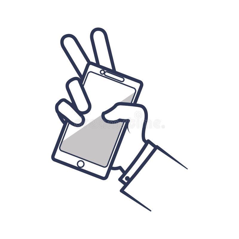 Smartphone-de technologiepictogram van het hand mobiel gadget Grafische vector stock illustratie