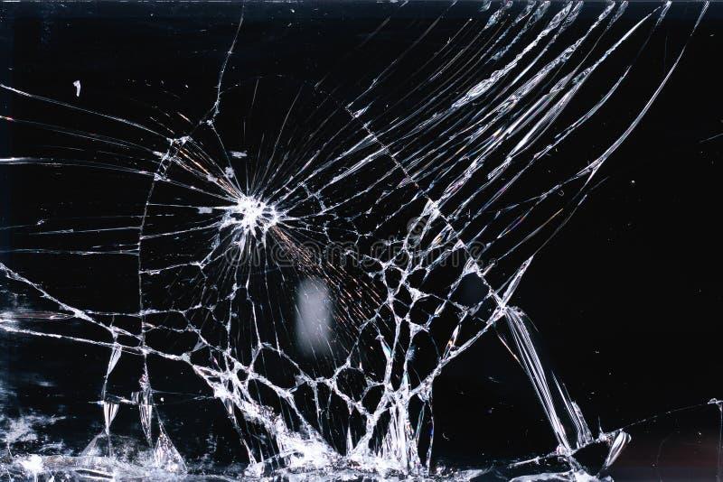 Smartphone de vidro quebrado e submetido da tela, linhas brancas no fundo preto, elemento do projeto, textura do contexto imagem de stock royalty free