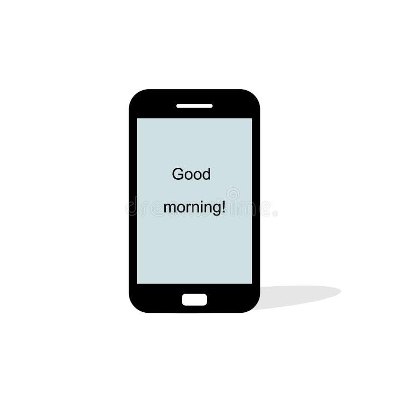 Smartphone in de zwarte kleur van de iphonestijl met het lege die aanrakingsscherm op witte achtergrond wordt ge?soleerd De Vecto vector illustratie