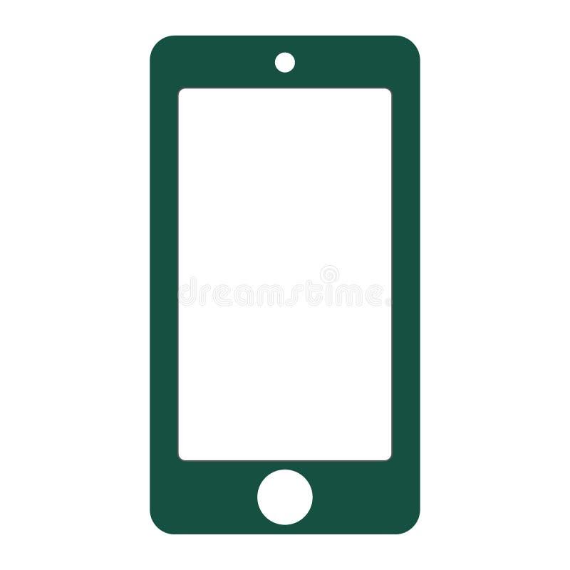 Smartphone del color verde con la pantalla blanca vacía Vector eps10 del color verde del smartphone de la vista delantera Icono d libre illustration