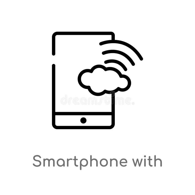 smartphone del esquema con el icono del vector de la conexi?n inal?mbrica r ilustración del vector