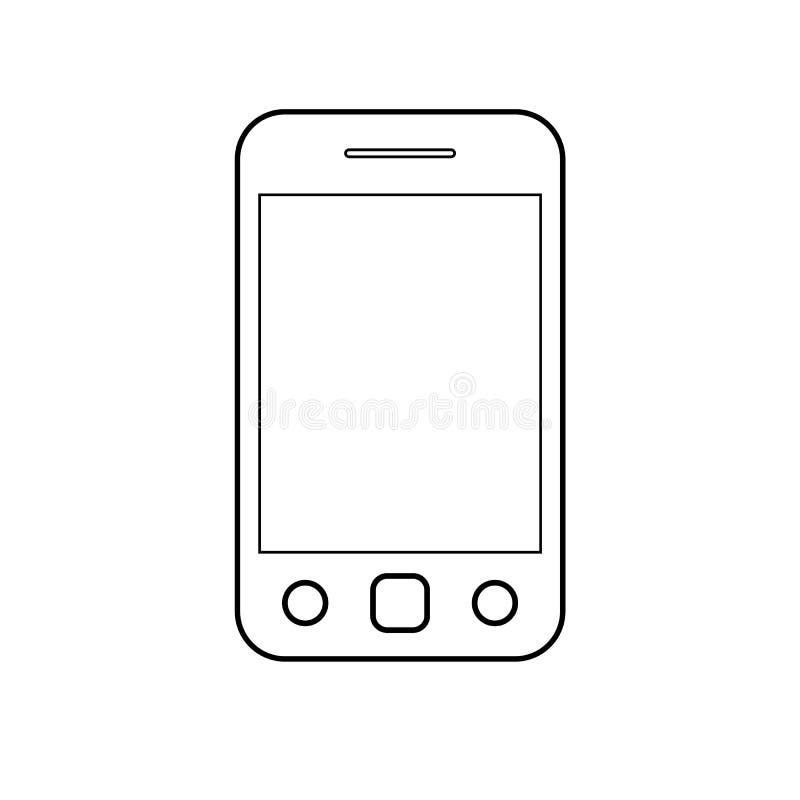 Smartphone del teléfono móvil con el vector eps10 del esquema de los botones del árbol muestra del esquema del icono del teléfono libre illustration