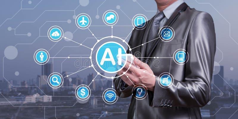 Smartphone del uso del hombre de negocios con los iconos del AI así como technolog imagen de archivo libre de regalías