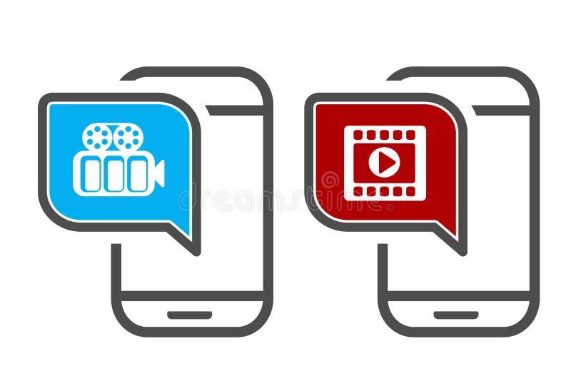 Smartphone del vector con el vídeo Iconos del App para el aparato de lectura o fluir video Tecnologías que fluyen móviles ilustración del vector