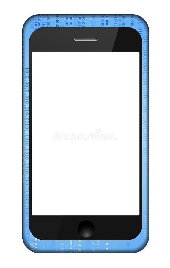Smartphone del vector en una cubierta del código binario stock de ilustración