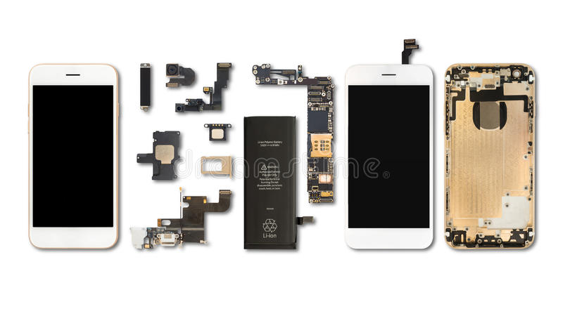 Smartphone delisolat på vit arkivbild