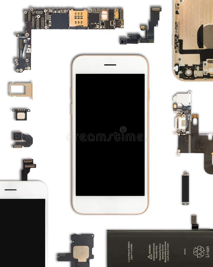 Smartphone delisolat på vit arkivfoton