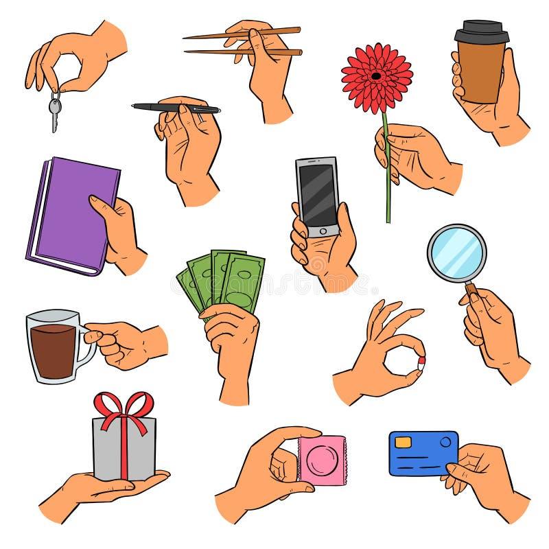 Smartphone della tenuta del braccio di vettore delle mani o tazza e dita di caffè che mostrano i creditcards o l'insieme dell'ill illustrazione vettoriale