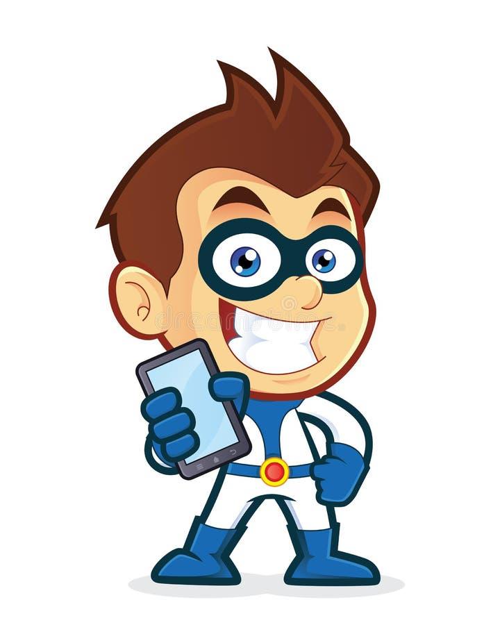 Smartphone della tenuta del supereroe illustrazione di stock