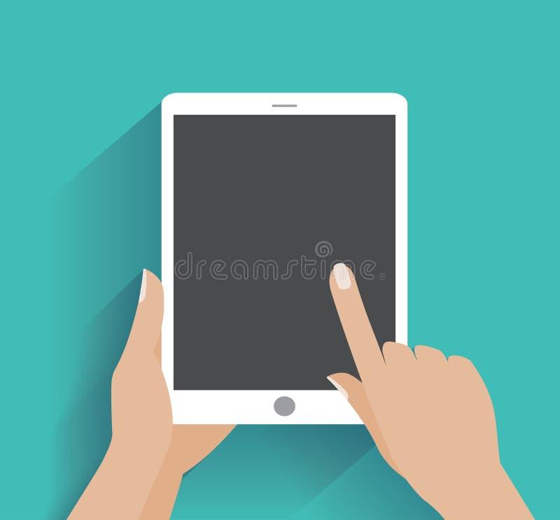 Smartphone della tenuta della mano con lo schermo in bianco royalty illustrazione gratis