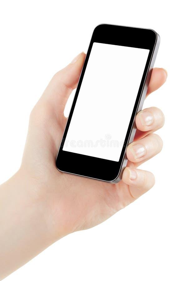Smartphone della tenuta della mano della donna fotografia stock libera da diritti