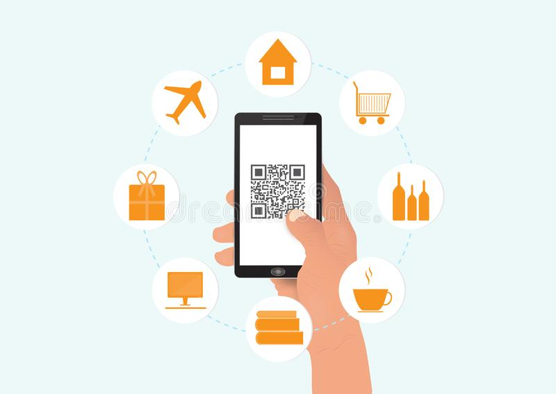 Smartphone della tenuta della mano con il codice del qr e le icone, concetto di tecnologia di affari illustrazione di stock