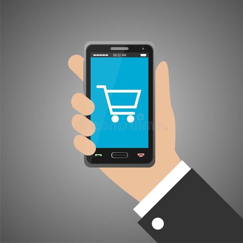 Smartphone della tenuta della mano con l'icona del carrello royalty illustrazione gratis