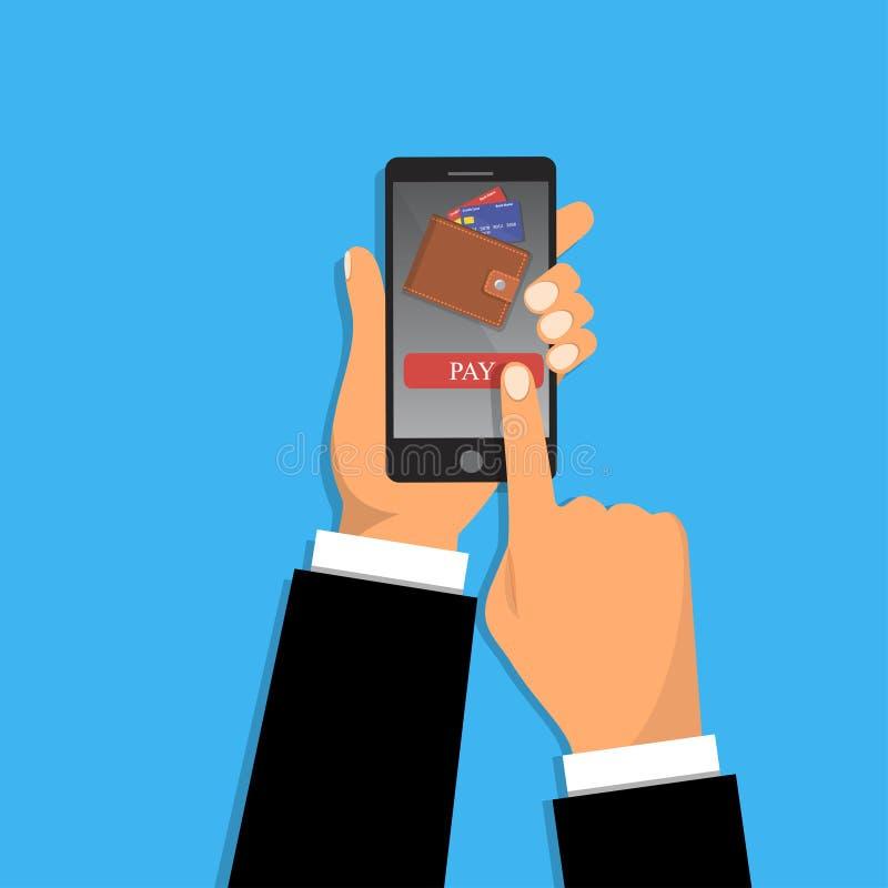 Smartphone della tenuta della mano, touch screen del dito illustrazione di stock