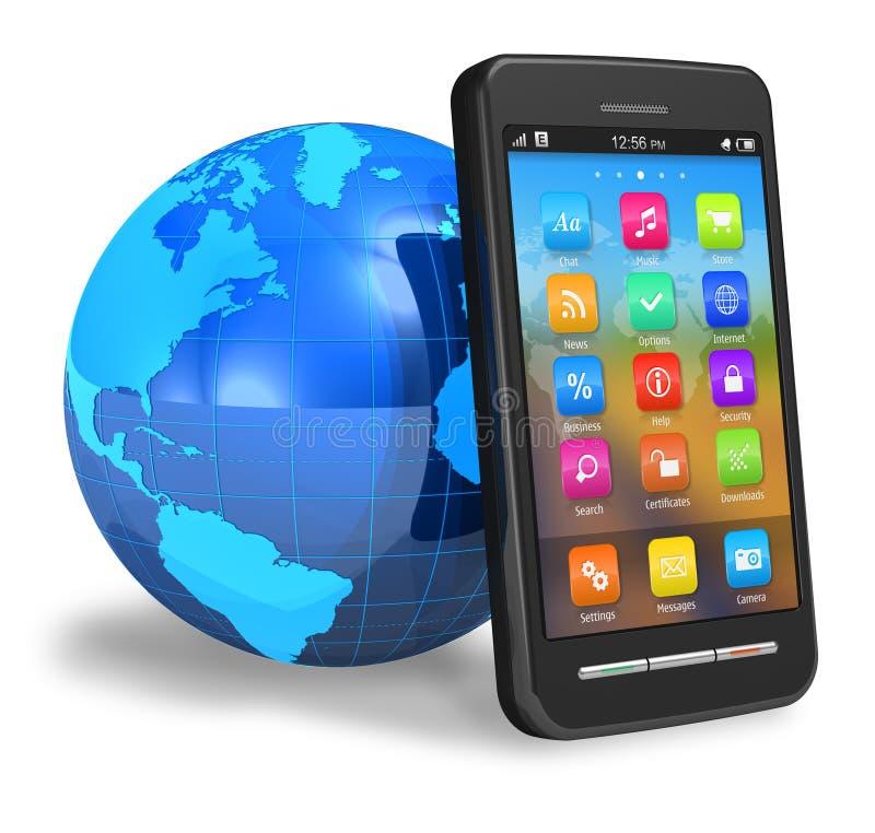 Smartphone dello schermo attivabile al tatto con il globo della terra illustrazione vettoriale