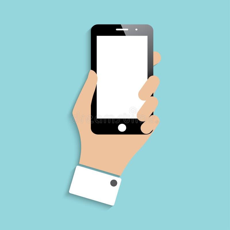 Smartphone in der Hand lizenzfreie abbildung
