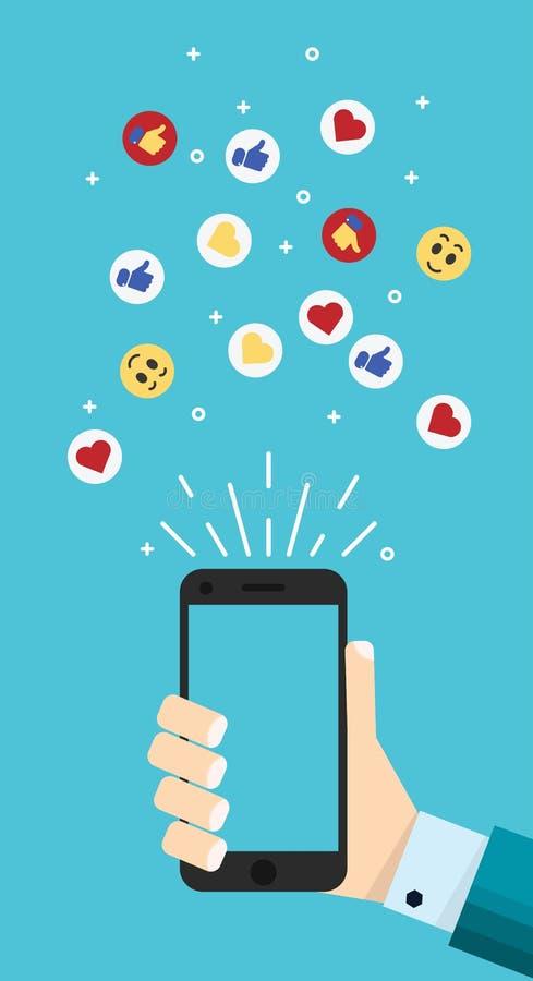 Smartphone in der Karikaturhand mit dem Daumen oben, wie, Herzzeichen stock abbildung