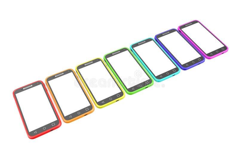 Smartphone in der Reihe lizenzfreie abbildung