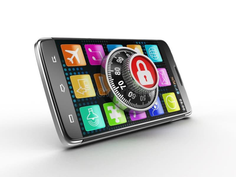Smartphone des Bildschirm- mit Kombinationsschloß Bild mit Beschneidungspfad vektor abbildung
